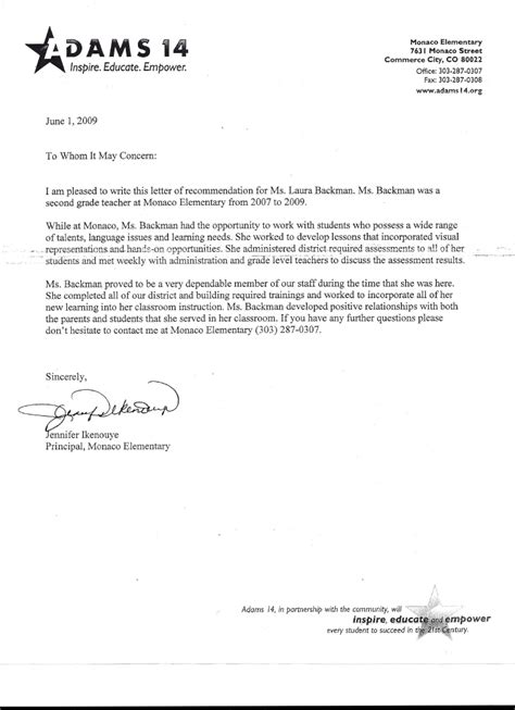 reference letter for teacher collection of solutions sample college
