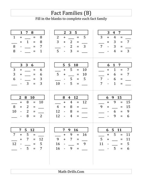 Free Math Fact Worksheets by Fact Family Worksheets Multiplication And Division Fact