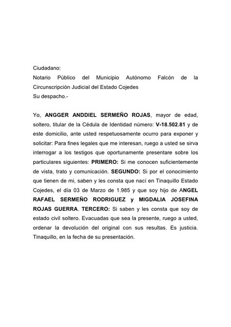 carta de trabajo saren carta de solteria simple