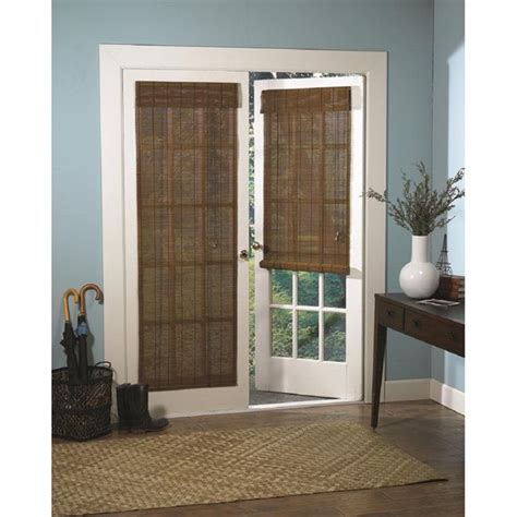 curtains for patio doors with blinds roman fruitwood bamboo french patio door shade insulation