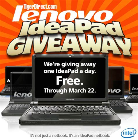 How To Do Sweepstakes On Facebook - tigerdirect s lenovo ideapad netbook a day for 45 days sweepstakes at