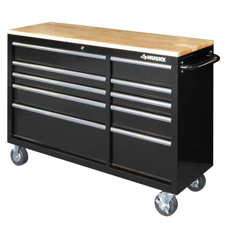 Husky 52 In 9 Drawer Mobile Workbench With Solid Wood Top by Husky 52 In 10 Drawer Mobile Workbench With Solid Wood
