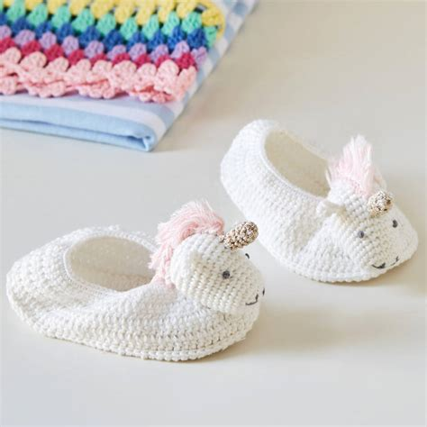 unicorn slippers pattern crochet unicorn baby booties by albetta