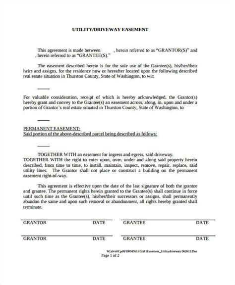 easement agreement template sle driveway easement agreement forms 7 free