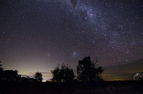 wallpaper trees landscape night galaxy nature sky