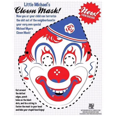 printable clown mask clown mask halloween on instagram