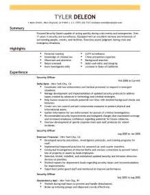 security officer resume format security officer resume exles enforcement