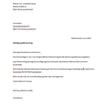 Kostenlose Vorlage Untermietvertrag pin de mietvertrag k 252 ndigung vorlage muster und beispiele