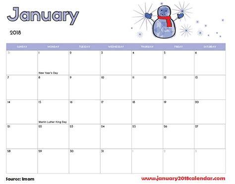 Calendar For January January 2018 Calendar