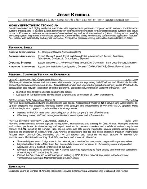 computer technician resume exle entry level computer