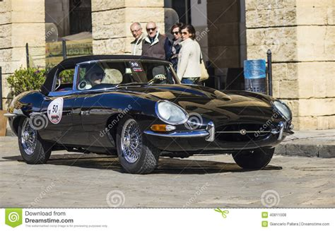 Vintage Car Types by Vintage Classic Car Jaguar E Type Black Editorial