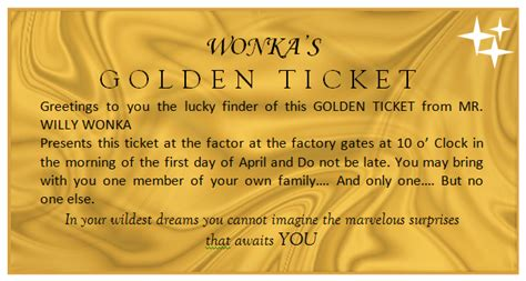 golden ticket template derek birthday party pinterest