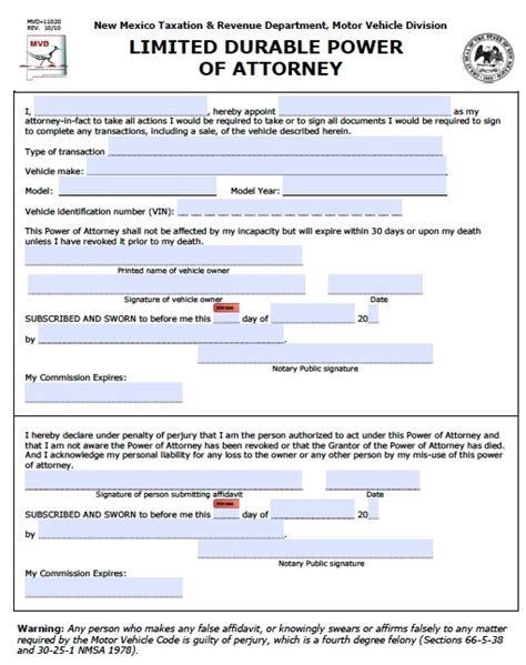 durable power of attorney template sle durable power of attorney form sle durable