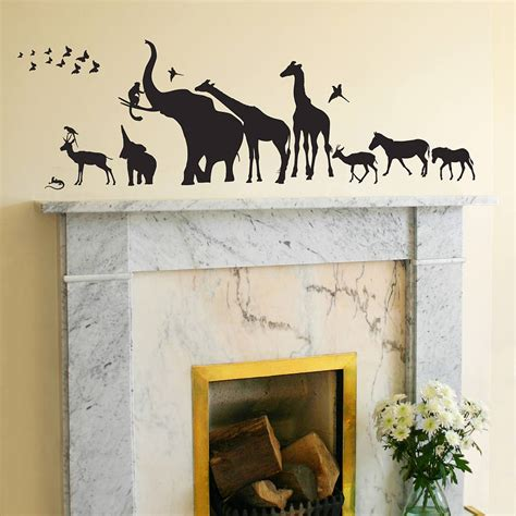 wildlife wall stickers safari walk animal wall sticker by the bright blue pig