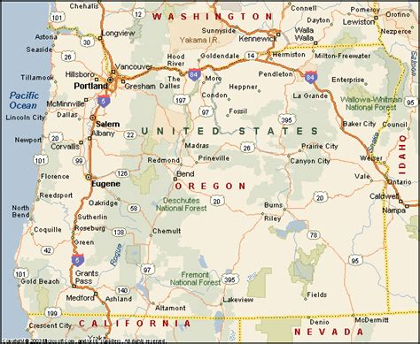 map of cities in oregon oregon state map with counties and cities