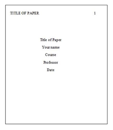 apa formatting title page