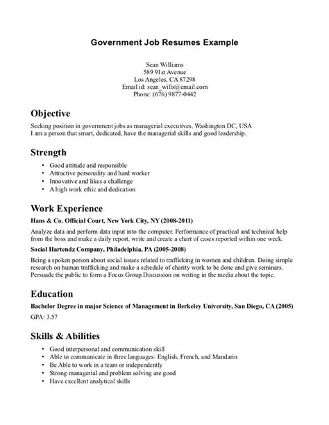 resume exle for government government resumes exle free resume templates