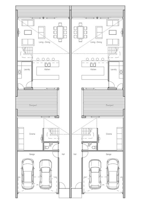 Narrow Lot Duplex Plans by Duplex Plans For Small Lots Narrow Lot Duplex House Plans