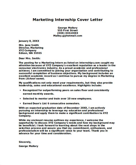 internship cover letter marketing sle internship cover letter 8 exles in pdf word