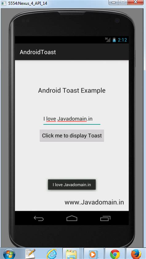 Android Toast by Android Toast Exle Javadomain