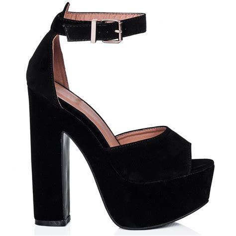 buy miinty block heel peep toe platform sandal shoes black
