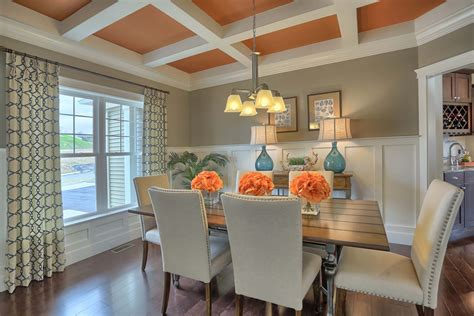 formal dining room  coffered ceiling  craftsman