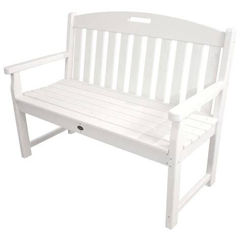 white patio bench trex outdoor furniture yacht club 48 in classic white patio bench txb48cw the home