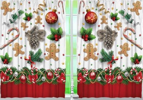 gingerbread kitchen curtain panel set