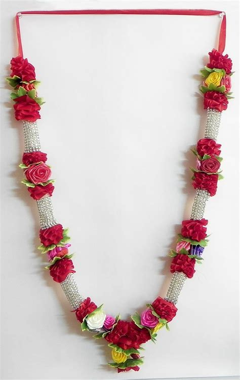 Red and Silver Ribbon Artificial Garland with Multicolor