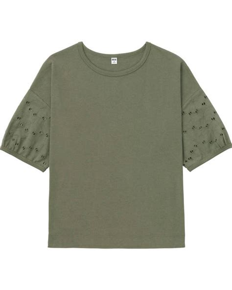 20238 Import Cotton Shirt Half Lace Sleeve Casual Top Whiteblack uniqlo embroidery half sleeve t shirt in khaki green lyst
