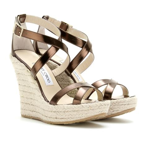 jimmy choo porto leather espadrille wedge sandals