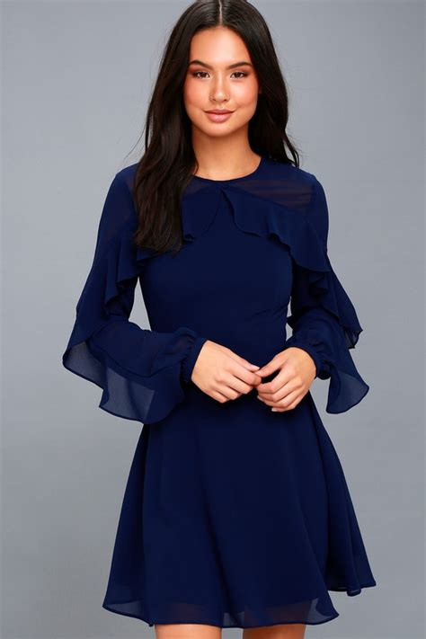 32215 Black Blue Sleeve S M L Dress lovely navy blue dress sleeve dress skater dress