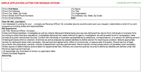 Revenue Officer Cover Letter by Revenue Officer Application Letter Sle