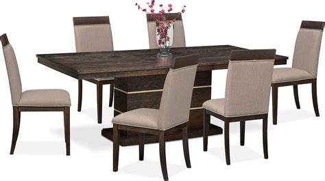 Brownstone Dining Table Gavin Pedestal Table And 6 Side Chairs Brownstone American Signature Furniture