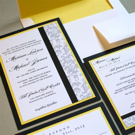 classic damask wedding invitations yellow