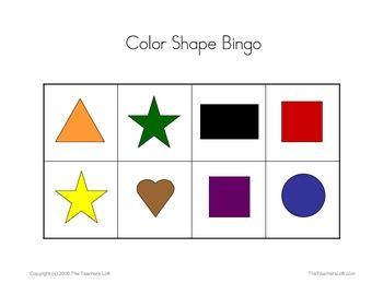 printable shapes bingo color shape bingo game prek kindergarten by the sped