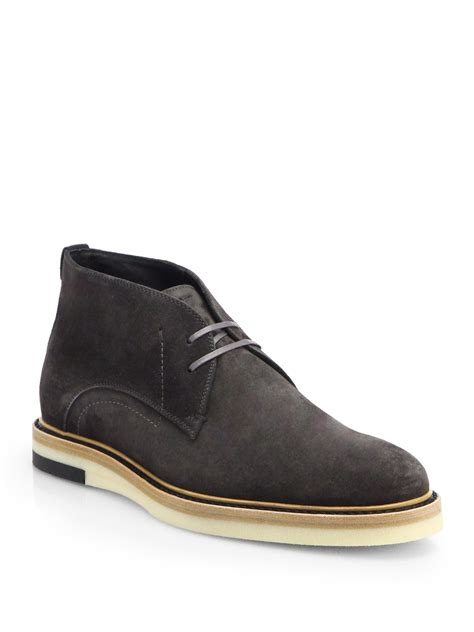 fendi suede chukka boots in black for grey lyst