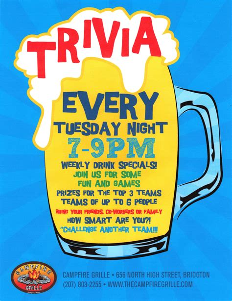 Some Fool Will Be Co Hosting Tuesday Trivia by Tuesday Trivia 8pm Cfire Grille Bridgton Maine