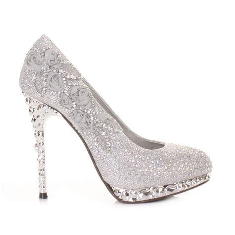 womens silver flower platform high heel