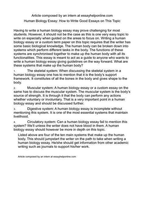 Biology Research Essays by Biology Thesis 28 Images Writing A Synthesis Essay