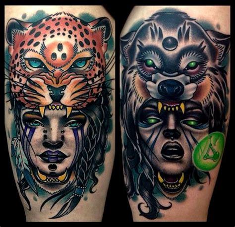 animal headdress tattoo woman with animal head dress they are usually
