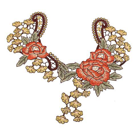 Lace Trim Floral unique 3d flower floral collar lace trim embroidered neck