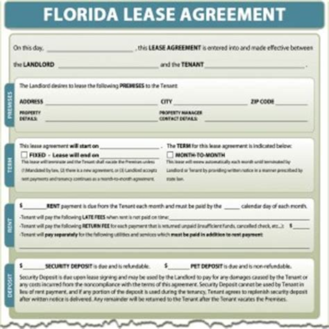 lease agreement template florida lease agreement