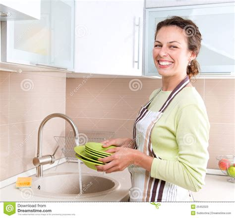 Faucet Washer Young Woman Washing Dishes Stock Photos Image 25452323