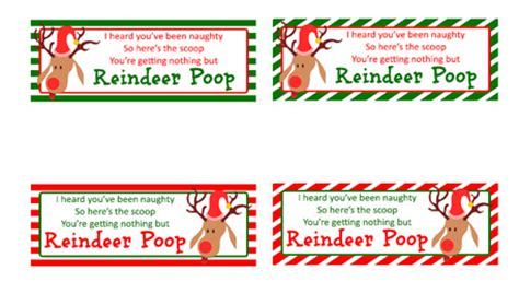 printable reindeer labels reindeer poop free printable bag toppers everyday