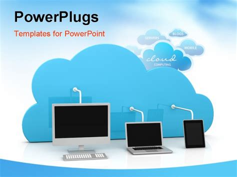 Digital Devices Connected To A Cloud Powerpoint Template Cloud Computing Ppt Templates Free