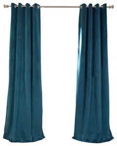 Teal Velvet Curtains Signature Everglade Teal Grommet Blackout Velvet Curtain