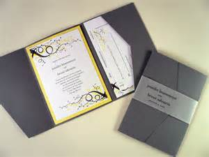 gray and yellow swirl wedding invitation starglow studios