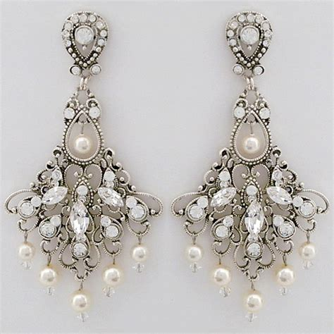 Antique Chandelier Earrings Jayne Bridal Earrings Vintage Wedding Chandelier Earrings Pearl