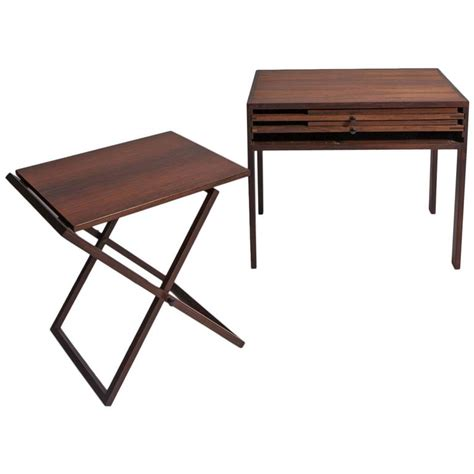 Folding Tray Table Set Set Of Three Folding Rosewood Tray Tables By Illum Wikkels 248 Silkeborg At 1stdibs